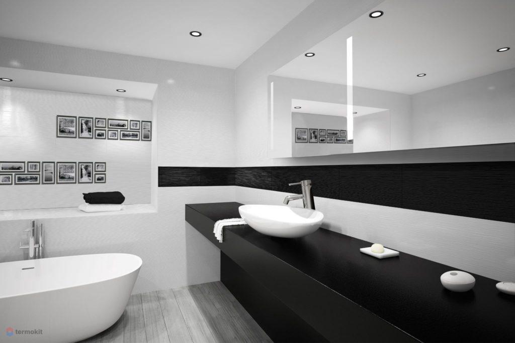 Белый и черный цвета в интерьере ванной комнаты