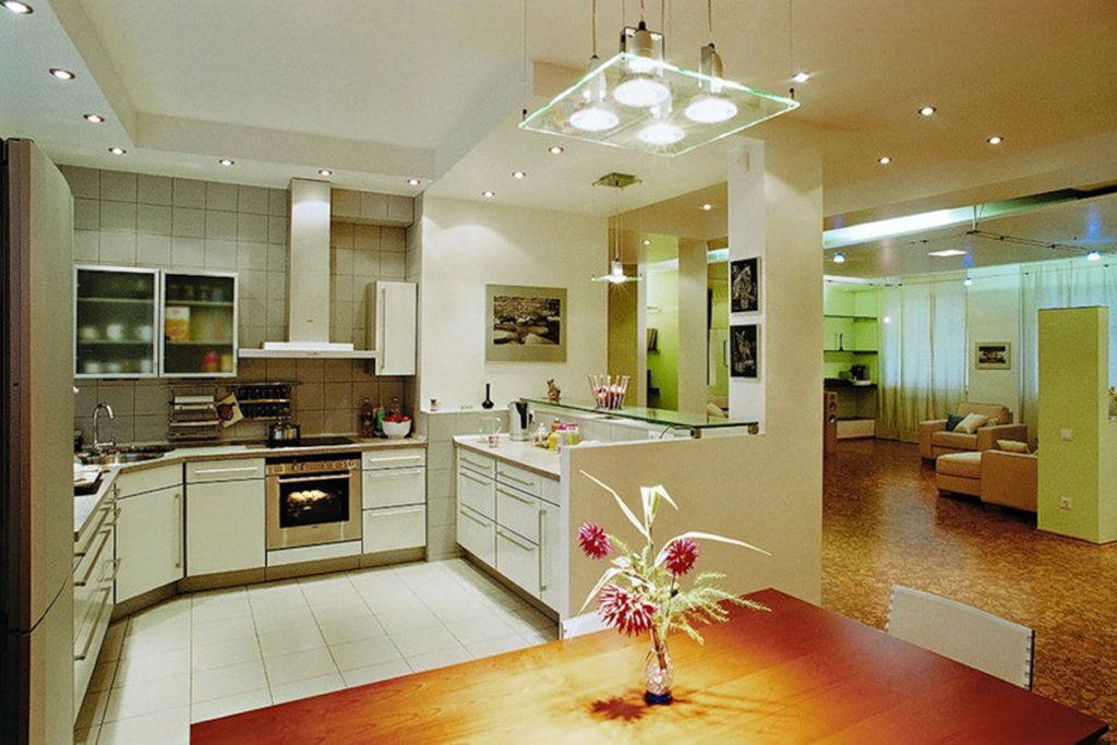 Освещение кухни центральный свет