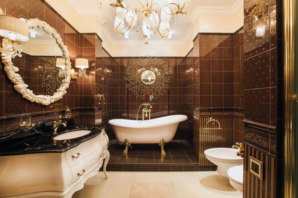 Черно-белая ванная в стиле арт-деко