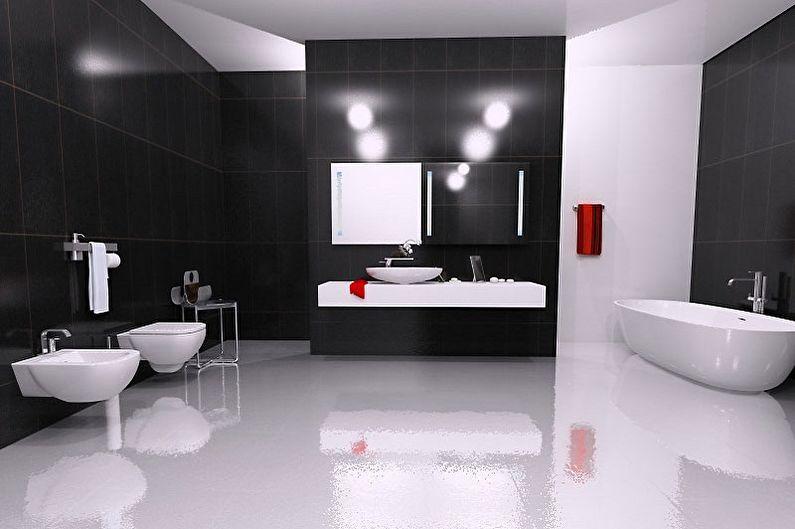 Черно-белая ванная в стиле Хай Тек