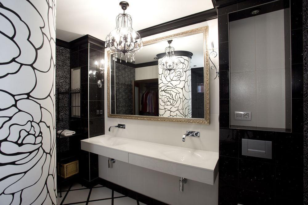 Черно-белая ванная в стиле модерн