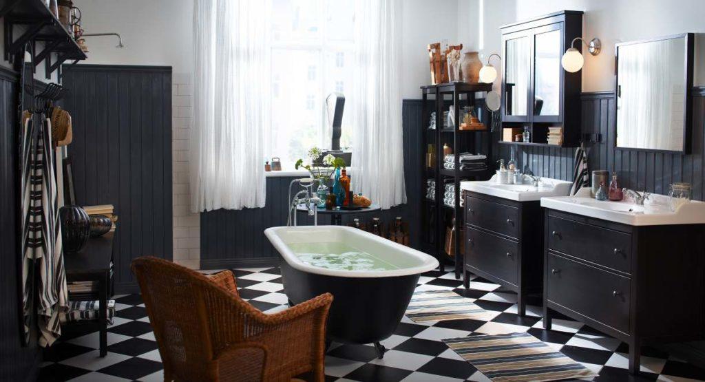 Черно-белая ванная в стиле винтаж