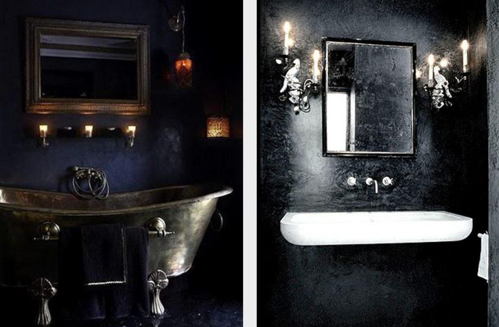 Черный интерьер ванной комнаты